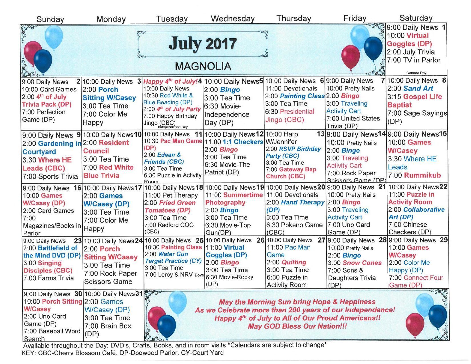 Calendar Ideas For July : Radford health rehab center activities calendar july